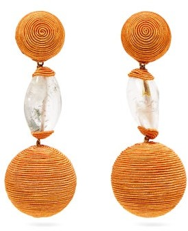 Rebecca De Ravenel Bon Bon Cord And Amethyst Clip Earrings - Womens - Orange