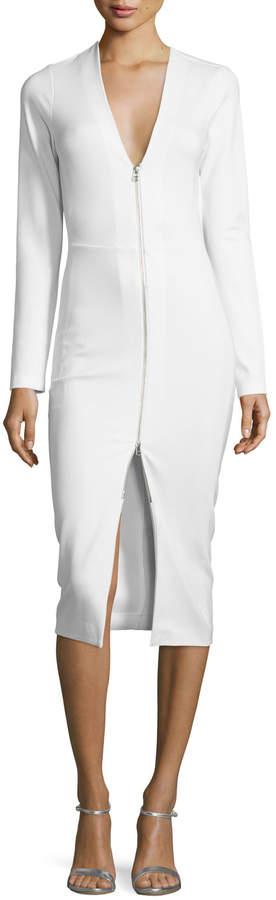 Veronica Beard Firefly Long-Sleeve Ponte Sheath Dress, Ivory