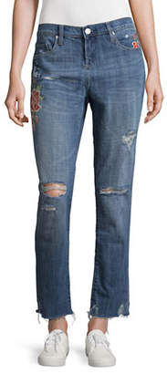 Blank NYC Distressed Embroidered Girlfriend Jeans