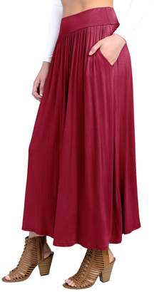 Hunter Fashion California FACA Womens High Waist Shirring Maxi Skirt Ankle Length with Pockets (XXX-Large, Wine)