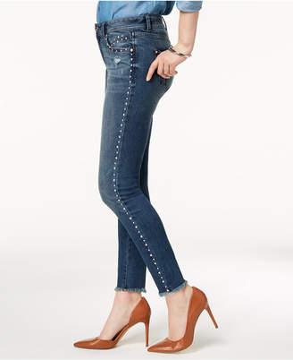 INC International Concepts I.n.c. Curvy-Fit Studded Frayed-Hem Skinny Jeans