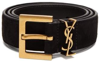 Saint Laurent Suede Belt - Womens - Black