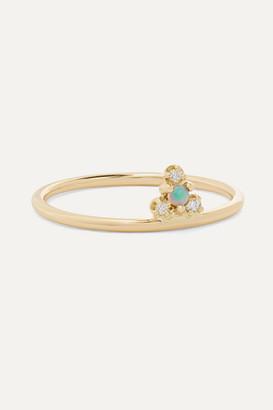 WWAKE Net Sustain Burst Gold, Opal And Diamond Ring