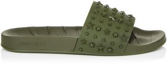 Jimmy Choo REY/M Army Star Embossed Rubber Sliders