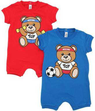 Moschino Set Of 2 Cotton Jersey Rompers