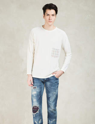 Factotum White L/S Check Pocket T-Shirt