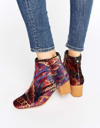 Hudson London Garnett Liberty Velvet Mid Ankle Boots