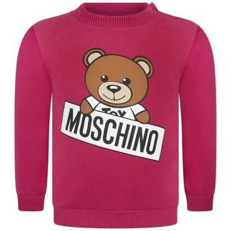 Moschino Girls Fuchsia Teddy Signboard Sweater