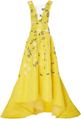Silk V-Neck Asymmetric Gown