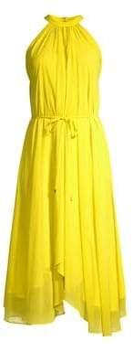 Saloni Women's Iris A-Line Halter Hankerchief Dress - Bright Lemon - Size 0