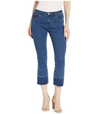 Hue Two-Tone Hem Denim Cropped Flare Leggings