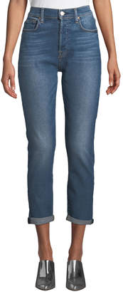 7 For All Mankind Josefina High-Waist Boyfriend Jeans with Rolled Hem