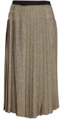 Derek Lam 10 Crosby Pleated Metallic Twill Midi Skirt