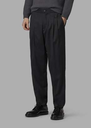Giorgio Armani Stretch Wool Blend Batavia Baggy Trousers