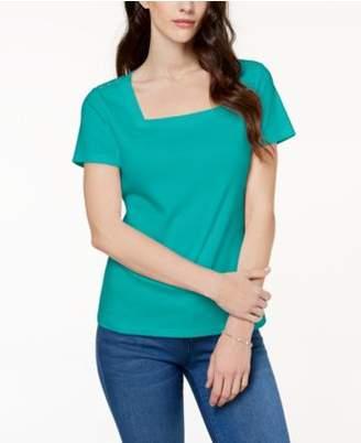 Karen Scott Cotton Square-Neck Button-Shoulder T-Shirt, Created for Macy's
