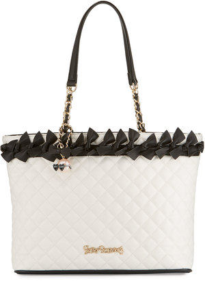 Betsey Johnson Family Ties Quilted Tote, Black/White $105 thestylecure.com