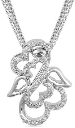 Zales Open Hearts by Jane Seymoura 1/15 CT. T.W. Diamond Angel Wings and Halo Interlocking Pendant Set in Sterling Silver