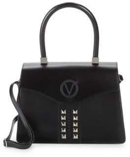 Mario Valentino Melanie Studded Leather Top Handle Bag