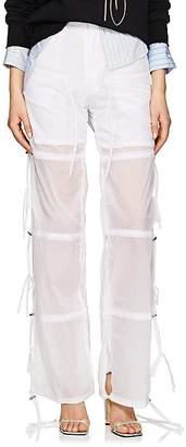 BLINDNESS Women's Drawstring-Side Washed Tech-Poplin Pants