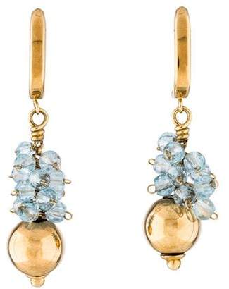 14K Blue Topaz Cluster Drop Earrings