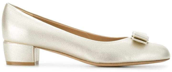 Salvatore Ferragamo metallic Vara pumps