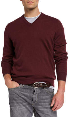 Brunello Cucinelli Men's Cashmere V-Neck Sweater
