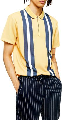 Topman Stripe Zip Short Sleeve Polo Shirt