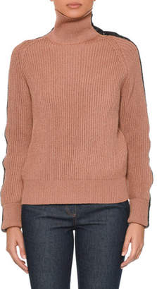 Bottega Veneta Turtleneck Long-Sleeve Knit Sweater w/ Intrecciato Suede Trim