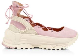 Coach Lace-Up Leather Ballerina Platform Sneakers