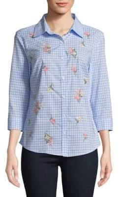 Karen Scott Petite Posy Embroidered Gingham Print Shirt