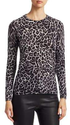 Saks Fifth Avenue Animal Print Crewneck Cashmere Sweater