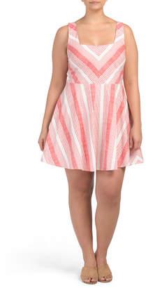 Plus Juniors Contrasting Stripe Dress