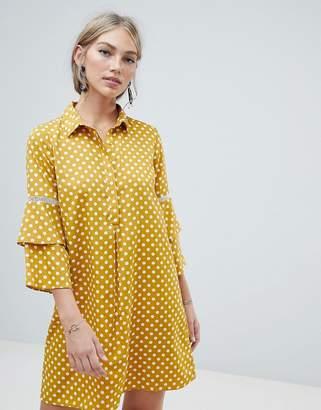Vero Moda polka dot shirt dress with fluted sleeve