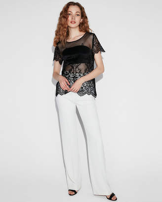 Express Floral Embroidered Lace Tee