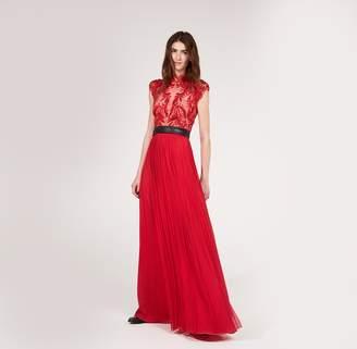 Amanda Wakeley Red Embellished Silk Tulle Dress