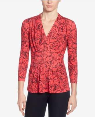 Catherine Malandrino Rea Floral-Print Pleated Top