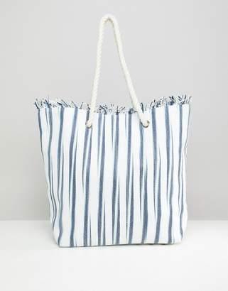 South Beach Straw Striped Beach Bag