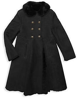 Dolce & Gabbana Little Girl's & Girl's Long Shearling-Collar & Lined Suede A-Line Double-Breasted Coat
