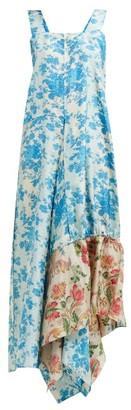 By Walid Manal Floral Print Raw Silk Midi Dress - Womens - Blue Multi