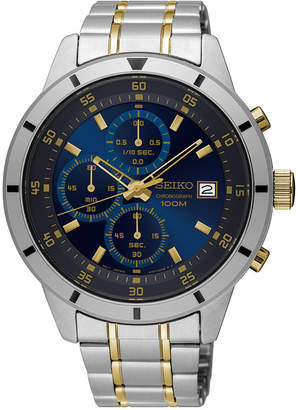 Seiko Men's Chronograph Special Value Two-Tone Stainless Steel Bracelet Watch 43mm SKS581 $260 thestylecure.com