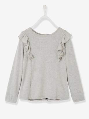 Vertbaudet Girls' Dual Fabric Sweatshirt with Frills