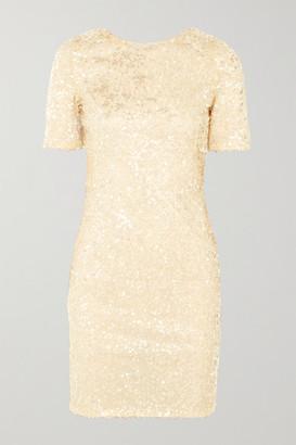 Galvan Sequined Georgette Mini Dress - White