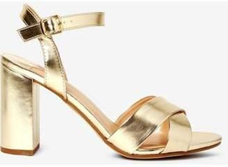 Dorothy Perkins Womens Wide Fit Gold 'Serena' Block Heel Sandals