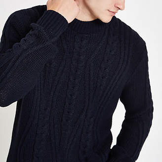 River Island Navy cable knit crew neck sweater
