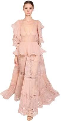Alberta Ferretti Long Cotton & Silk Lace Dress