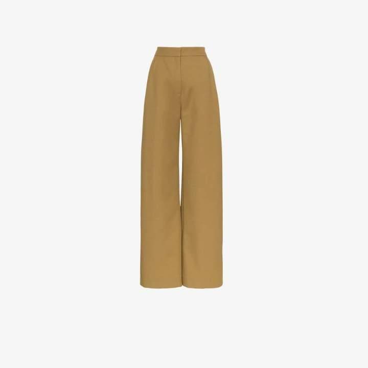straight wide leg wool trousers
