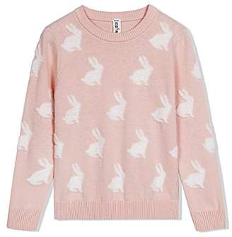 Kid Nation Girls' Easter Rabbit Long Sleeve Round Neck Knit Sweater