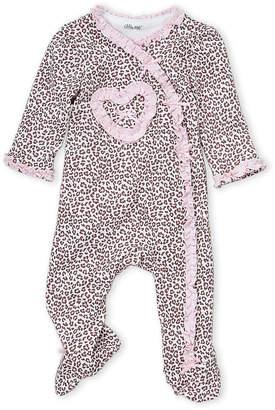 Little Me Newborn Girls) Pink Leopard Ruffle Trim Footie