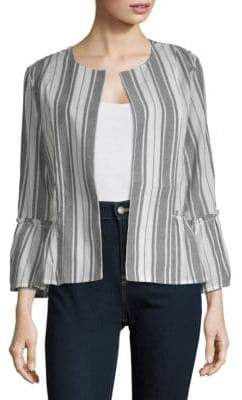 August Silk Open Front Long-Sleeve Cotton Jacket