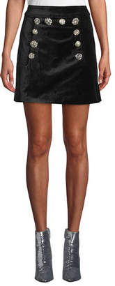 Veronica Beard Ording Velvet Button-Front Short Skirt